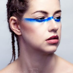 creative makeup, blue eyes, beauty editorial maekup, braids